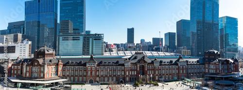 Photo (東京都ー風景パノラマ)東京駅と駅前広場の風景2
