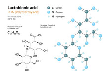 Lactobionic Acid. PHA Polyhydroxy Acid. Structural Chemical Formula And Molecule 3d Model. Atoms With Color Coding. Vector Illustration