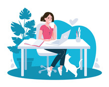 Woman Using Laptop Flat Vector Illustration. Working From Home, Remote Job.