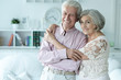 canvas print picture - Portrait of cheerful senior couple at home