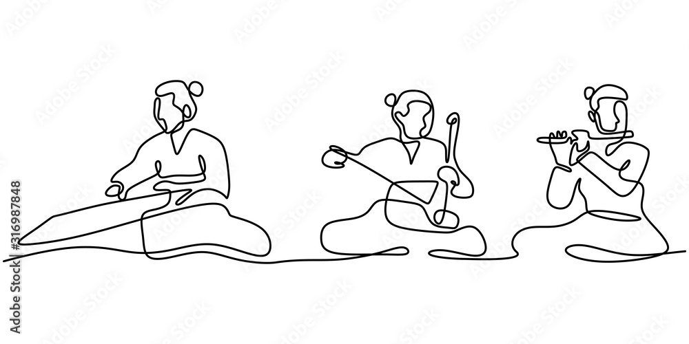 Fototapeta Continuous line drawing of people with Gayageum or Kayagum, is a traditional Korean zither-like string. One hand drawn sketch of korean music performance.