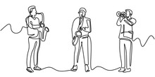 Saxophone And Trumpet Player One Line Drawing. Continuous Single Hand Drawn Linear Sketch. Vector Illustration Of Three Performers Playing Music.