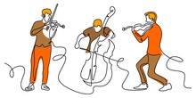Classical Music One Line Drawi...