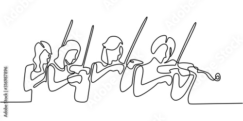 Cuadros en Lienzo Classical music one line drawing