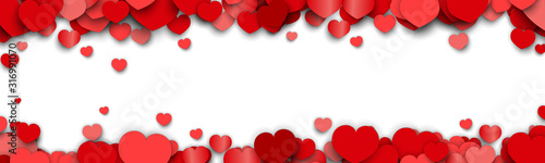 Cuadros en Lienzo Valentines Day Background Design with Heart Stickers Scattered
