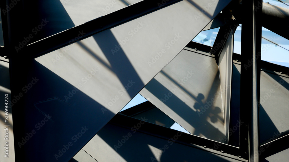 Fototapeta Abstract background architecture lines. modern architecture detail