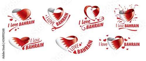 Photo National flag of the Bahrain in the shape of a heart and the inscription I love Bahrain