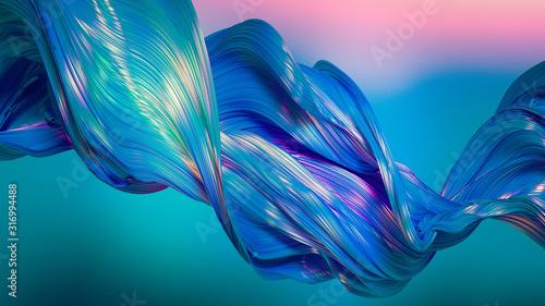 Fototapeta Drapery fabric with stripes. 3d illustration, 3d rendering. obraz
