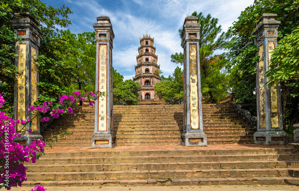 Fototapeta Thien Mu pagoda, historic temple in the city of  Hue in Vietnam