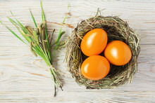 Orange Colored Easter Eggs In ...