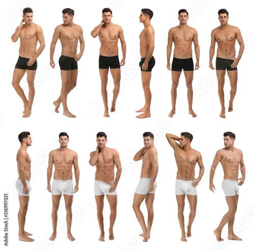 Obraz Collage of man in underwear on white background - fototapety do salonu