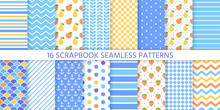 Scrapbook Background, Seamless Pattern. Vector. Cute Paper For Scrap Design. Chic Print With Polka Dot, Stripe, Zigzag, Fruits, Check, Fish Scale. Trendy Texture. Color Illustration Geometric Backdrop