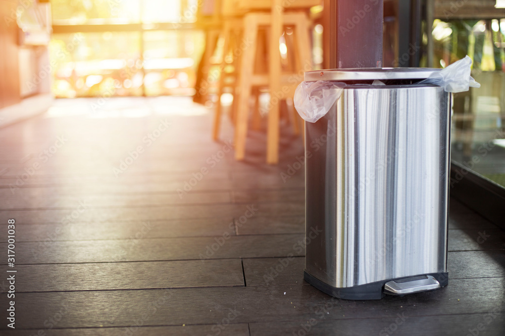 Fototapeta Stainless bin,Trash in coffee shops,Waste collection equipment, Global warming