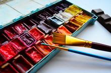Watercolor Paints And Paintbru...