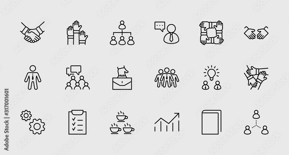 Fototapeta Set of Team Work Related Vector Line Icons. Contains such Icons as Handshake, Check, Idea, Coffee, Gears, Cooperation, Collaboration, Team Meeting and more. Editable Stroke. 32x32 Pixel Perfect