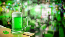 Glass Of Green Beer Stands On ...