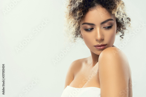 Cuadros en Lienzo Beauty closeup portrait of beautiful mixed race caucasian - african american wom