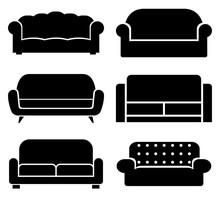 Sofa Set Icon, Logo Isolated O...