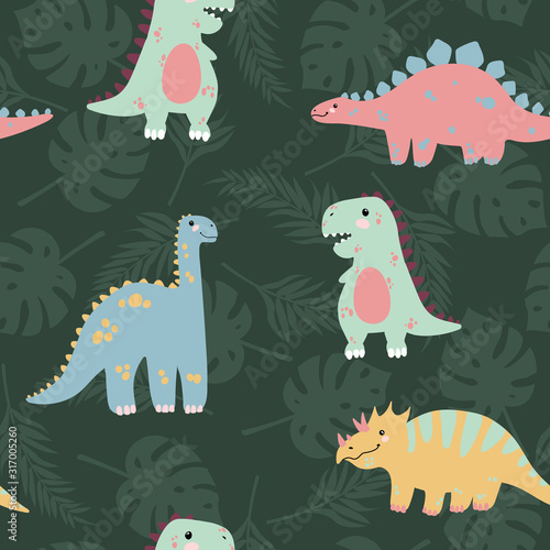 Vector seamless pattern with cute dinosaurus with tropicals leaves on stripes background in flat cartoons style Canvas Print
