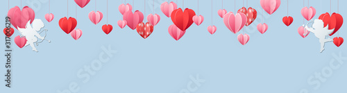 Photo  Valentines day panorama banner with border of red and pink hearts with white che