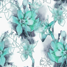 Daffodil Seamless Pattern. Wat...