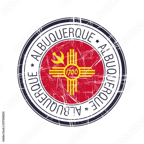 City of Albuquerque,New Mexico vector stamp Canvas Print