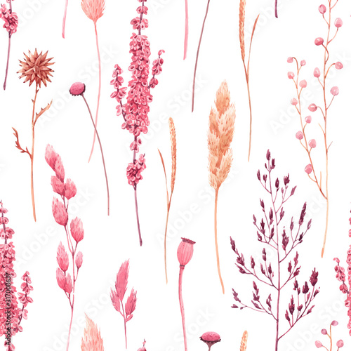 Fototapeta Beautiful vector seamless pattern with watercolor herbarium wild dried grass in pink and yellow colors. Stock illustration. obraz