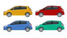 Subcompact Hatchback Car. Compact Hybrid Vehicle. Eco-friendly Hi-tech Auto. Template Isolated On White View Side.
