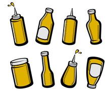 Bottles Mustard Set. Collection Icon Mustard. Vector