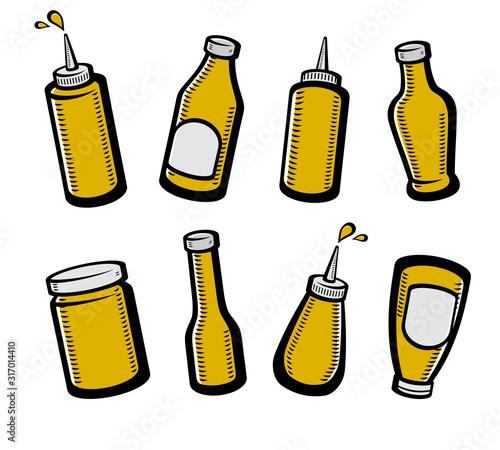 Photo Bottles mustard set. Collection icon mustard. Vector