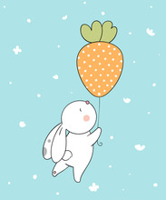 Draw Cute Bunny With Balloon In The Air For Spring Season Doodle Cartoon Style