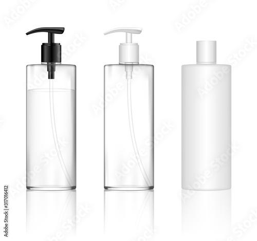 Stampa su Tela Cosmetic transparent plastic bottle with dispenser pump