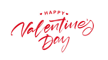 Handwritten modern brush textured lettering of Happy Valentines Day with hearts isolated on white background.