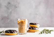 Iced Coffee And Chocolate Donu...