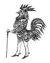 A Rooster Man With A Cane And ...