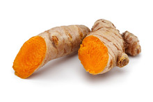 Fresh Turmeric With Slices Isolated
