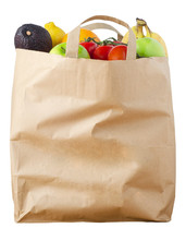 Fruit In Brown Paper Shopping Bag Isolated On White Background