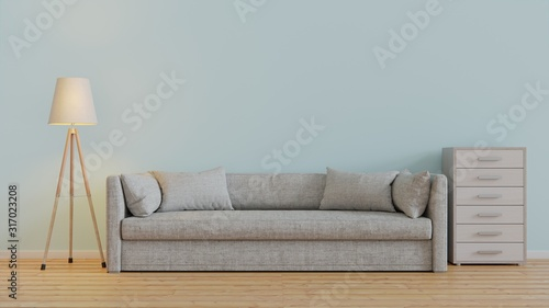 blue pastel modern living room design with sofa and wooden floor and light lamp Wallpaper Mural