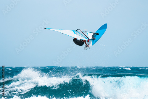 windsurf jumps out of the water Canvas