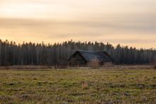 Rural Scene With Old Barn In F...