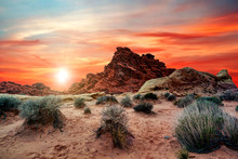 Sunset Hiking On The Trails In The Valley Of Fire State Park Near Las Vegas, Nevada, USA.