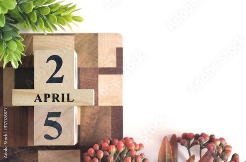 April 25, Cover calendar design in natural concept. Canvas Print