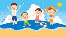 海で遊ぶ 4人家族