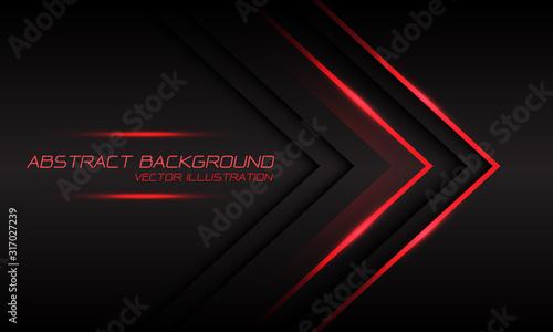 Fototapeta Abstract red light arrow direction on dark grey design modern luxury futuristic background vector illustration