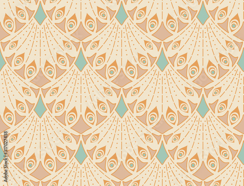 Art nouveau seamless pattern in beige colors. Vintage elegant background Wall mural