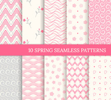Ten Spring Seamless Patterns. Romantic Pink Backgrounds For Valentine's Or Mother's Day. Endless Texture For Wallpaper, Web Page, Wrapping Paper. Retro Style. Wave, Flower, Curl, Heart