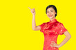 Leinwanddruck Bild - Pretty Asian female with Chinese traditional dress cheongsam or qipao hand showing blank space. Chinese new year concept, female model isolated on yellow background.
