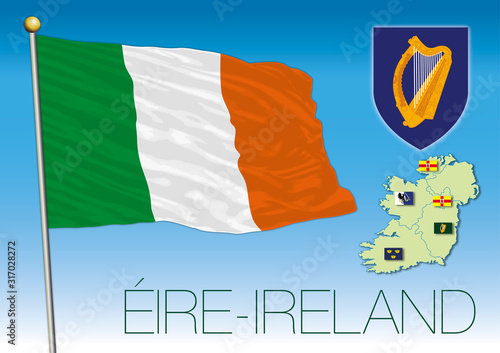 Eire Ireland official flag and coat of arms, European Union, vector illustration Canvas Print