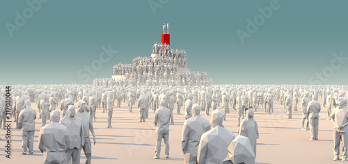 Photo ฺBusiness strategy competition ideas concept 3D illustration white polygon peopl