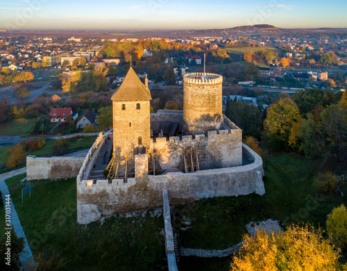Medieval gothic castle in Bedzin, Upper Silesia, Poland. Aerial view in fall in sunrise light